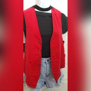 Jackets & Blazers - Handmade Vintage Unisex Red & Black Velvet Vest